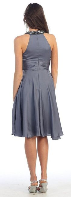 Short Bridesmaids Pleated Chiffon Ruched Cocktail Formal Dress - The Dress Outlet - 8