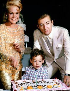 Sandra Dee, Bobby Darin, and their son Dodd Darin at Sandra's birthday celebration in 1966.