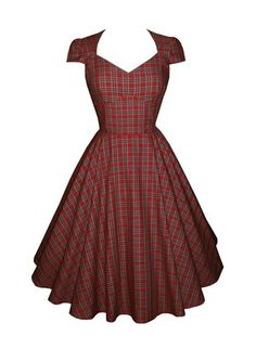 'Highland Fling' - Full circle 'Daisy' cap sleeves in Royal Stewart cotton tartan. 1950s vintage style dress. £50. - OMG YES. this is what I'm making for my Christmas outfit. ❤️