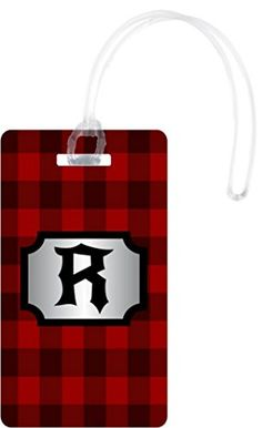 Rikki Knight R Initial Lumberjack Red Burgundy Plaid Luggage Tags White ** You can find out more details at the link of the image.Note:It is affiliate link to Amazon.