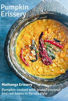 Pumpkin Erissery is a traditional Kerala dish prepared by cooking pumpkin and pulses with grated coconut and finished off with a garnish of roasted coconut. Top Recipes, Indian Food Recipes, Real Food Recipes, Ethnic Recipes, Sweets Recipes, Easy Recipes, Cooking Pumpkin, Pumpkin Recipes, Vegetable Recipes
