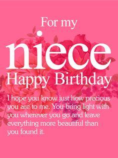 To My Precious Niece Happy Birthday Wishes Card Birthday Greeting Cards By Davia
