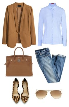 """""""CHIC"""" by auroraschoice ❤ liked on Polyvore featuring H&M, Hermès, Ray-Ban, HUGO, J.Crew and Shoe Cult"""