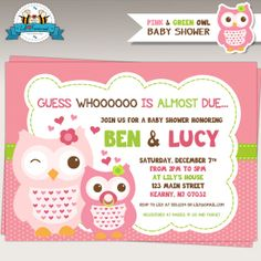 Owl Pink & Green Baby Shower Invitation  by LilFacesPrintables, $11.95