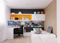 schwarze Akzentwand und weiße Möbel im Jungenzimmer