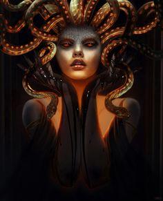 Medusa Gorgon, Medusa Kunst, Medusa Art, Medusa Tattoo, Greek Gods And Goddesses, Greek Mythology, Roman Mythology, Fantasy Creatures, Mythical Creatures