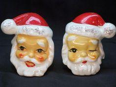 Santa Claus Head Salt & Pepper Shaker Set by GarageSaleGlass, $11.99