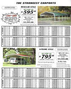 Lafayette Portable Buildings - Carport and RV Cover Price List Carport Plans, Carport Garage, Shed Plans, Rv Carports, Metal Carports, Metal Garages, Carolina Carports, Portable Carport, Carport Designs