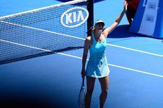 Waving. Maria Sharapova, 2R, 16 January 2014.  - Ben Solomon/Tennis Australia. Australian Open 2014.