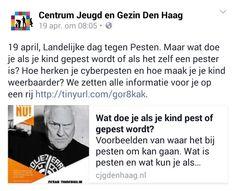 Facebook post, 19 april 2016 Landelijke dag tegen Pesten   een van de opvoedvragen waar het CJG bij kan helpen   middelenmix samengesteld van nieuwspagina met diverse links naar al bestaande informatie, Facebook, Twitter, muurkrant   in afstemming met stoppestennu.nl