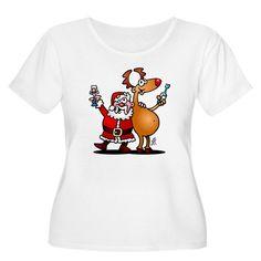 #Christmas #Tshirt #Santa #SantaClaus #Reindeer Santa Claus and his reindeer T-Shirt #Cafepress #Cardvibes #Tekenaartje