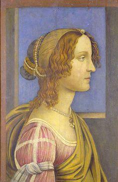 Follower of Botticelli - A Lady in Profil (La bella Simonetta)  https://www.artexperiencenyc.com/social_login/?utm_source=pinterest_medium=pins_content=pinterest_pins_campaign=pinterest_initial