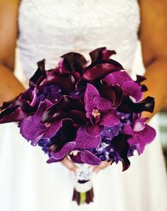 Modern and bold bouquet of vanda orchids, mini eggplant calla lilies and hydrangea.