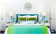 master bedroom colours, lime green and teal blue (gray walls, probably black bed frame)