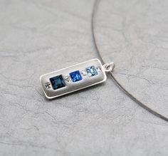 Blue Ombre Swarovski Crystal Geometric Pendant by MoonBubbles, $26.00