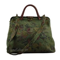 Modern Satchel - Olive Green with Vintage Flowers - Element Cottage
