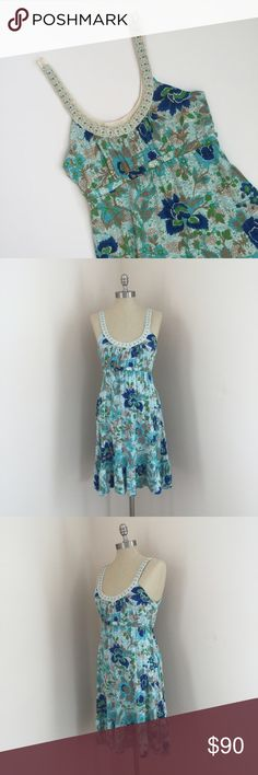 Free People dress Beautiful Free People dress Cream and blue floral design with beading around the straps and neckline. Ruffled hem, boho style. Size medium, worn only a few times & in great condition!  No trades No ️aypal No Merc ✅Posh Rules ✅Use Offer Button ✅Bundle for 15% off  Instagram @BeThriftyChic Free People Dresses Mini