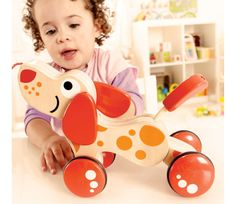 Wobbly Walk along Puppy by Hape - Hape - Sit, Stand. Teach this silly dog some new tricks and encourage your child to walk by pulling it around the house. Puppies And Kitties, Toy Puppies, Pet Puppy, Toy Playhouse, Hape Toys, Silly Dogs, Pull Toy, Imaginative Play, Cool Baby Stuff