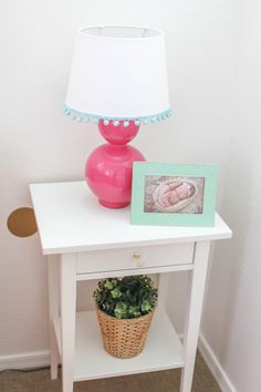 Great Nursery DIY/Upcycles: Spray-painted Pink Lamp with DIY Pom Pom Trim