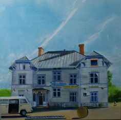 Karl Newman.  Crazy House.  Oil on canvas.  118 x 118 cms