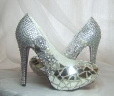 Swarovski crystals, broken shards of glass and spikes Hot Pink Heels, Yellow Heels, Crazy Shoes, Me Too Shoes, Dream Shoes, Stilettos, Diy Wedding Shoes, Wedding Ideas, Shoe Boots