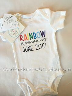 Rainbow Baby Pregnancy Announcement Onesie/Bodysuit Maternity Photography/ photography prop  #etsy #etsyseller #etsyshop #heartandarrowbtq #rainbowbabyonesie #pregnancyannouncement #pregnancyreveal #expecting #rainbowbaby  #personalize #duedate #madewithlove #momtrepreneur #shopsmall