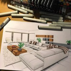 Interior Architecture Drawing, Interior Design Renderings, Architecture Concept Drawings, Drawing Interior, Interior Rendering, Interior Sketch, Interior Design Tips, Architecture Design, Interior Logo