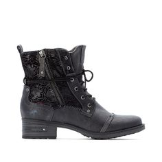 Faux leather lace-up ankle boots with floral detail , black, Mustang Shoes | La Redoute Mustang Shoes, Black Mustang, Lace Up Ankle Boots, Leather And Lace, Combat Boots, Flats, Detail, Chic, Heels