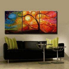 Acrylic Abstract Painting, Acrylic Canvas Painting, Living Room Wall Art, 3 Piece Canvas Art, Tree of Life Painting, Colorful Tree Tree Of Life Painting, Hand Painting Art, Large Painting, Painting Canvas, Acrylic Canvas, Texture Painting, 3 Piece Canvas Art, 3 Piece Wall Art, Large Canvas