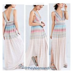 HPUrban Outfitters Ecote Rainbow Maxi Dress Airy sleeveless maxi dress from Ecote in a unique mix-stitched rainbow gauze fabric we love. Cut with a v-neck front and back trimmed with lattice detailing along the empire waist. Side zip closure; fully lined.  Content + Care - Shell: 87% Rayon/13% Cotton/1 % Metallic - Lining: 100% Polyester - Lace: 100% Cotton Urban Outfitters Dresses Maxi
