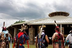 Hominy Dancers lineup before the start of the Osage Gray Horse dances ...