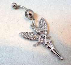 Belly button ring with crystal Tinkerbelle fairy and Swarovski crystals 14ga | YOUniqueDZigns - Jewelry on ArtFire