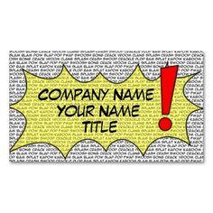 Shop Comic Speak Business Card created by luvmibug. Book Works, Custom Business Cards, Geek Stuff, Comic Books, Design Inspiration, Superhero, Create, Prints, Font Styles
