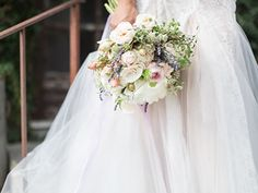 A classic white and blush wedding bouquet fit for a princess bride. Violetta Flowers, San Francisco.