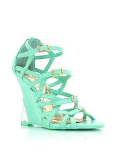 Show off your perfect pedi with these strappy, open toe wedges. #wedges #mint #buckle #wedge