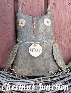 Hootie Owl EPATTERN primitive country von chestnutjunction auf Etsy