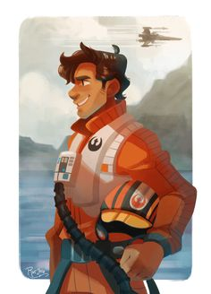 Poe Dameron more like Poe DAMNeron, amirite? Haha first art thing for 2016! I also watched Star Wars for the third time today, so I was in a very Poe mood :)