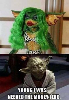Young I was. Needed the money I did. -Yoda on his previous life as a sex working Gremlin. lulz.
