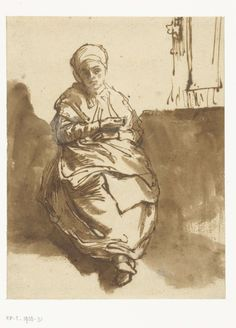 Rembrandt van Rijn, Saskia Sitting by a Window (c. Courtesy the Rijksmuseum. Drawing Sketches, Art Drawings, Rembrandt Drawings, Art Aquarelle, Dutch Golden Age, Dutch Painters, Great Paintings, Wow Art, Dutch Artists