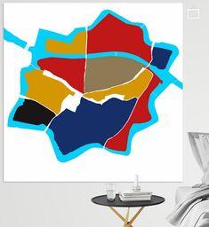 Centrum plattegrond van Zwolle in de kleuren van De Stijl. Zonder kader om de stadsgracht. Canvas, Prints, De Stijl, Tela, Canvases