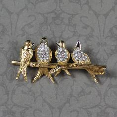 Vintage Joan Rivers Gold Clear Rhinestone Birds on a Branch Brooch $45 Vintage Costume Jewelry, Vintage Costumes, Vintage Jewelry, Unique Jewelry, Gold River, Joan Rivers, Bird Jewelry, Druzy Ring, Brooches