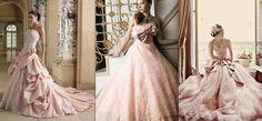 Sheer elegant blush wedding dress