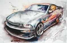 """2006 Mustang GT"" – Done from a photo of Larry's car.  Fun study of the reflections and colors in bright, shiny paint and glass. Related"