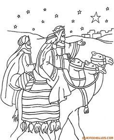 dibujos para colorear de navidad de los reyes magos montados en sus camellos - Buscar con Google