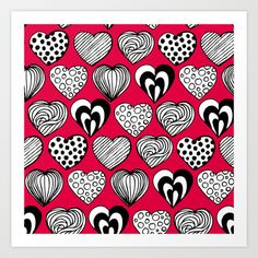 Funny Hearts Art Print by patterndesign.
