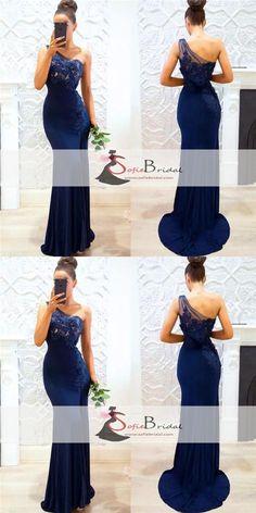 2826c84565 One Shoulder Navy Mermaid Bridesmaid Dresses