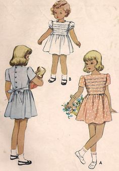 40s -  Little Girls' Sweet Pleated Bodice Dress - Vintage Sewing Pattern - McCall 6703 - Size 2 - 21 Breast