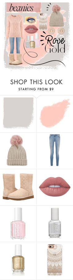 """rose gold beanie"" by stylegirl12356 ❤ liked on Polyvore featuring Rothko, Yves Saint Laurent, Jocelyn, Givenchy, H&M, UGG, Lime Crime, Essie, Casetify and Nam Cho"