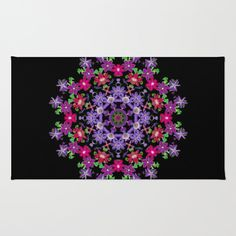 Mandala area rug, Clematis carousel, red, pink, violet, blue, black floral kaleidoscope, home decor, living room, bedroom by RVJamesDesigns on Etsy