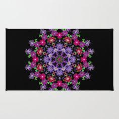 Mandala area rug, Clematis carousel, red, pink, violet, blue, black floral kaleidoscope, home decor, living room, bedroom by RVJamesDesigns on Etsy